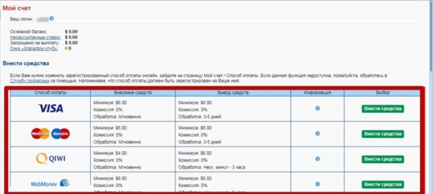 пополнения счета в БК Marathon Bet
