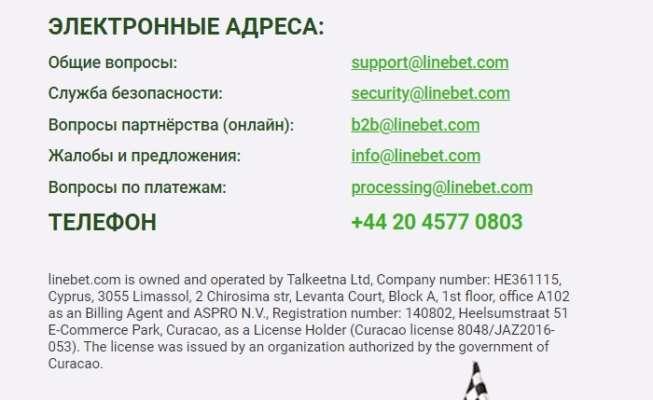 Служба підтримки Linebet