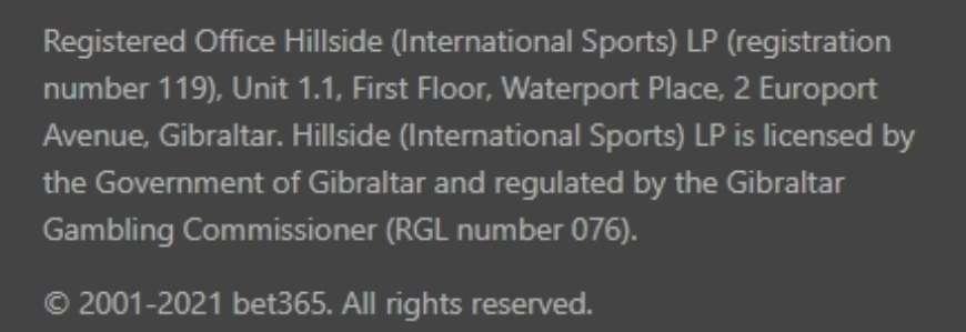 Bet 365 работает на основании лицензии Гибралтара