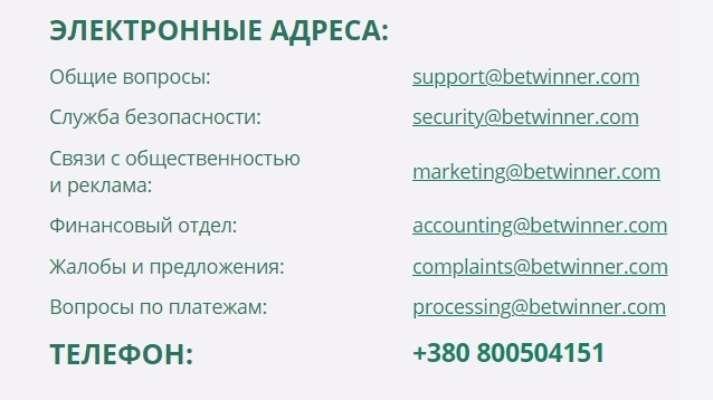 Служба підтримки БК Betwinner