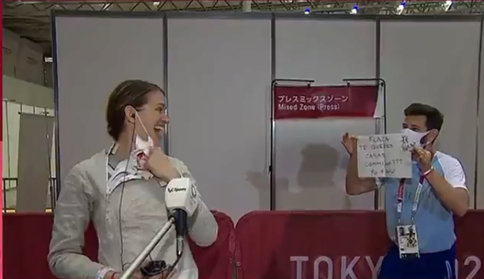На Олимпиаде тренер фехтовальщицы сделал ей предложение в прямом эфире
