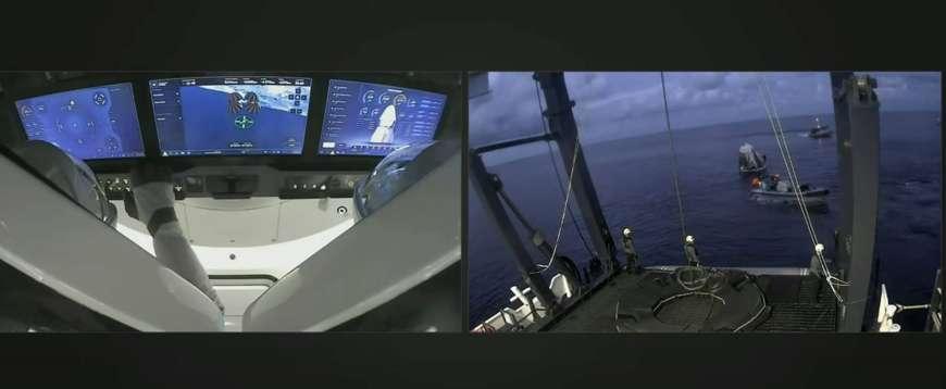 Туристы миссии SpaceX приземлились в Атлантическом океане